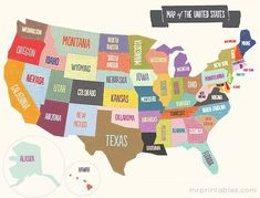 Printable map of the USA - LOTS of FREE printables for kids here that are BEAUTIFULLY designed.  Maps, flash cards, coloring pages, mazes, games...
