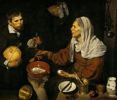 Old Woman Cooking Eggs, 1618  National Gallery of Scotland, Edinburgh  Velázquez was eighteen or nineteen when he painted this remarkable picture. It clearly demonstrates his flair for painting people and everyday objects directly from life. His fascination with contrasting materials and textures and the play of light and shadow on opaque and reflective surfaces resulted in brilliant passages of painting, especially the eggs cooking in hot oil and the varied domestic utensils. At the start…