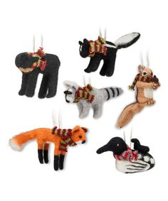 Look what I found on #zulily! Woodland Animal Ornament Set #zulilyfinds