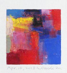 "Apr. 10, 2018 9 cm x 9 cm (app. 4"" x 4"") oil on canvas © 2018 Hiroshi Matsumoto www.hiroshimatsumoto.com"