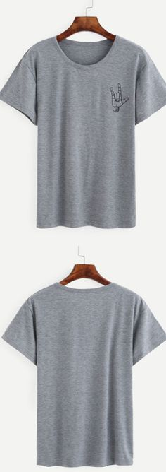 Just wanna many many t-shirt. Love casual, love cozy style! Heather Grey Love Gesture Print T-shirt.