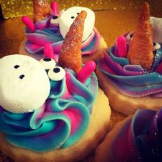 Unicorn sugar cookies! The horn is a bugle and the nose is a marshmallow!