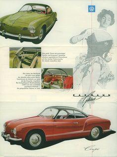 1957 Karmann Ghia Brochure in German Volkswagen Karmann Ghia, Volkswagen Bus, Cowgirl Photo, Porsche Sports Car, Vw Vintage, Ad Car, Car Advertising, Cute Cars, Dream Cars