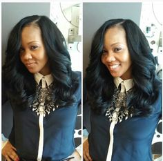Sew in side part Indian hair loose curls long hair