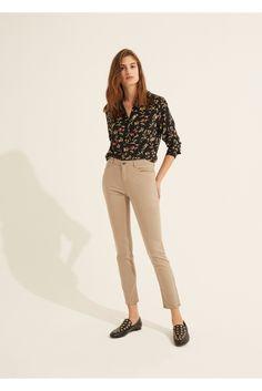 Pantalon long et slim en coton mélangé mathilda, sable | gerard darel 4
