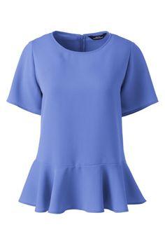 fc210fc91b62f Women s Regular Short Sleeve Ruffle Hem Crepe Blouse