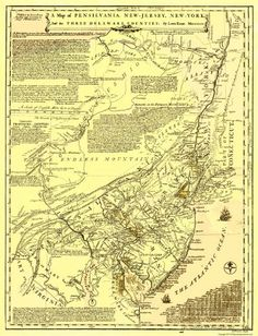 Revolutionary War Maps - PENNSYLVANIA /NY/NJ & THE 3 DELAWARE COUNTIES BY EVANS 1749 - Matte Art Paper