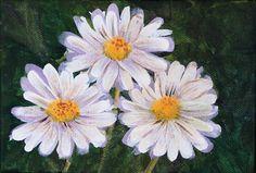 THREE DAISIES, Original Mini Fine Art Acrylic Floral Painting,