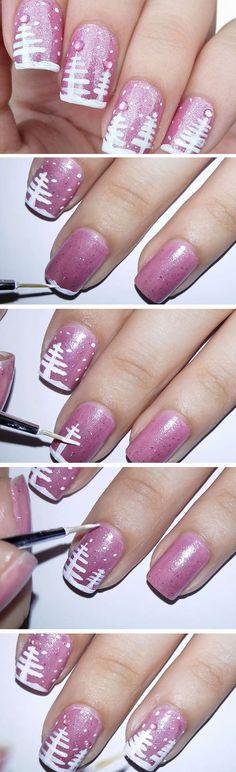 Pink Christmas | Easy Christmas Nail Designs for Short Nails