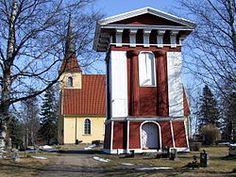 Saloisten kirkko ja kellotapuli. Grave Monuments, Finland, Gazebo, Outdoor Structures, Graveyards, Buildings, Historia, Kiosk, Pavilion