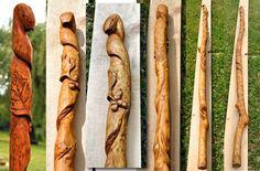 Řezba - hůl do lesa s přírodními motivy