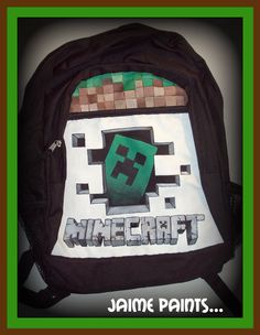 MINECRAFT Head back to school with this minecraft Inspired Backpack Hand Painted Painting Minecraft, Cool Boys Room, Minecraft Party, Minecraft Ideas, Painting Backpack, Anna Camp, Great Birthday Gifts, Birthday Ideas, Educational Activities For Kids