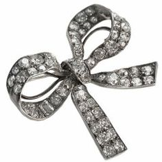 Elegant Edwardian Diamond Bow Brooch