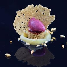 Honey poached pear - cranberry compote and sorbet -gingerbread sponge and chips .