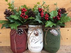 Painted Mason Jars. Christmas Decor. Vase. Home Decor. Holiday Decor. Rustic Decor. Christmas Jars. Gifts. by WineCountryAccents on Etsy https://www.etsy.com/listing/252579700/painted-mason-jars-christmas-decor-vase