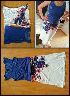 Upcycling – Bluse und Top werden zum Kleid