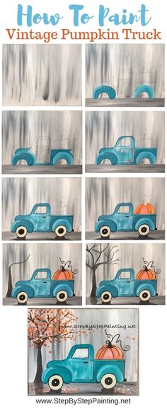 Painting art projects - How To Paint A Vintage Pumpkin Truck – Painting art projects Fall Canvas Painting, Canvas Painting Tutorials, Diy Painting, Painting & Drawing, Canvas Art, Canvas Paintings, Tole Painting, Fall Paintings, Acrylic Canvas
