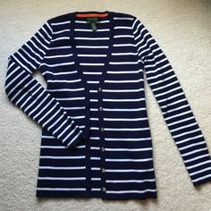 Ralph Lauren blue and white striped cardigan Navy Blue and white stripe cardigan from Lauren by Ralph Lauren. The cardigan is a heavier material and is quite thick for a cardigan. I wore this only a few times. Excellent condition! Ralph Lauren Sweaters Cardigans