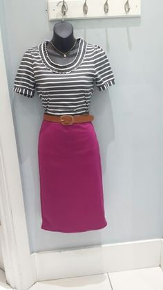 Mikarose love my collar top $29.99, basic stretch pencil skirt $19.99, mid-width belt $14.99.