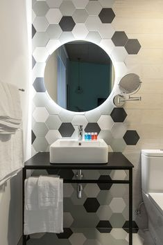 Hexagon Tiles and Wood Effect in Bathroom - Grey