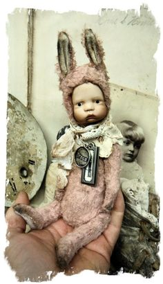 "Image of POPPET * 8.5"" Vintage Bylo Doll Head POPPET RABBIT Old Hare * By Whendi's Bear"