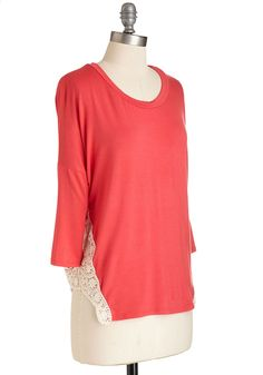 Relaxation 101 Top. The first step in crafting a coolly casual ensemble? #coral #modcloth