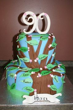 90th Birthday cake family tree