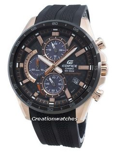 Rose Gold Stainless Steel Case, Resin Strap, Solar Movement, Black Dial, Chronograph Function, Accuracy: ±20 Seconds Per Month, Regular Timekeeping. Casio Edifice, Countdown Timer, Casio G Shock, Watch Sale, Black Crystals, Casio Watch, Stainless Steel Case, 30, Carbon Fiber