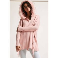 Forever21 Faux Fur Hooded Lace-Up Sweater ($48) ❤ liked on Polyvore featuring tops, sweaters, pink, oversized v neck sweater, over sized sweaters, pink sweater, oversized sweaters and long knit sweater