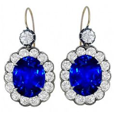 Preowned Sapphire Diamond Cluster Drop Earrings ($45,420) ❤ liked on Polyvore featuring jewelry, earrings, blue, victorian jewelry, blue sapphire earrings, victorian jewellery, pre owned jewelry and blue drop earrings