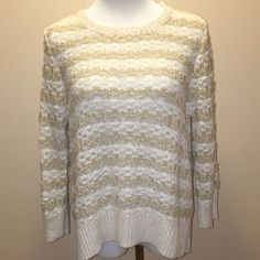 LOFT white and tan striped 3/4 sleeve sweater Great condition. Size XL. LOFT Sweaters Crew & Scoop Necks