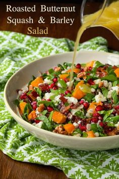 Butternut Squash and Barley SaladRoasted Butternut Salad with Barley and Candied Bacon - The most delicious salad with lots of healthy ingredients and a special splurge - candied bacon!