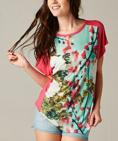 Another great find on #zulily! Pink & Blue Floral Keyhole-Back Top by Rock Candy, $30 !!  #zulilyfinds