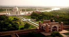 Cities from Above-The Taj Mahal as the day's first tourists trickle through the gates.