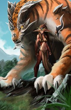 Hot Digital Illustrations by Mark Henry Bustamante mount tiger rock earth creature Mystical Animals, Mythical Creatures Art, Magical Creatures, Fantasy Creatures, Fantasy Dragon, Fantasy Warrior, Dark Fantasy Art, Fantasy Artwork, Herobrine Wallpaper