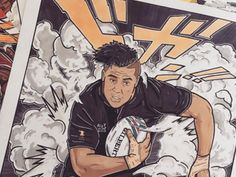 The All Blacks have been immortalised by a French artist who is using his unique drawing skills to share his passion for rugby. - New Zealand Herald Sports Painting, Unique Drawings, All Blacks, Drawing Skills, French Artists, Rugby, Abs, Passion, Paintings