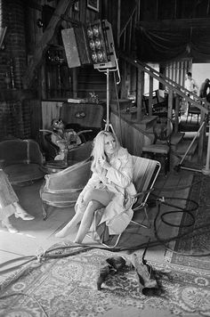Brigitte Bardot photographed by Terry O'Neill on the set of The Legend of Frenchie King, 1971.