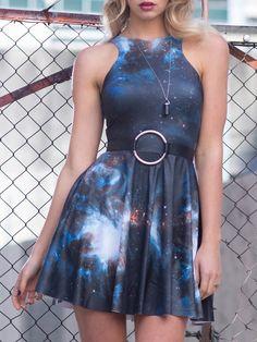 Galaxy Black Reversible Skater Dress (WW 48HR $85AUD / US - LIMITED $68USD) by Black Milk Clothing