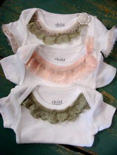 Sooo gonna make some of these.this sewing maching is saving me money! lol Lace Trim Onesie - Green and Pink Vintage Lace - Trendy Baby Girl - Perfect Baby Shower Gift. via Etsy. Sewing For Kids, Baby Sewing, Sew Baby, Sewing Diy, Sewing Hacks, Sewing Tutorials, Sewing Ideas, Sewing Patterns, My Baby Girl