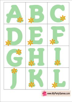 Baby Shower Alphabet Introduction Game In Green Color. Ice BreakersGreen ...