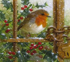 christmas robin wallpaper by Iontravler - 60 - Free on ZEDGE™ Pagan Christmas, Christmas Scenes, Christmas Pictures, Christmas Art, Vintage Christmas, Winter Pictures, Bird Pictures, Dot Art Painting, Polychromos