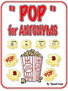 This download is made with the non-reader in mind. This game can be played with groups of students working on vocabulary development/ antonyms.   Players receive a popcorn number card to see how many picture cards to pick and name and then provide the opposite to that word.