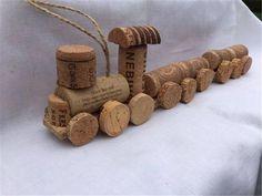 Wine Cork Mini Train Set/Engine only Weinkorken Mini Train Set / Caboose only Wine Cork Wreath, Wine Cork Ornaments, Wine Cork Art, Wine Cork Crafts, Wine Bottle Crafts, Snowman Ornaments, Christmas Wine, Christmas Crafts, Kids Crafts