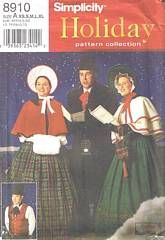 Simplicity 8910 Dickens Christmas Carolers Costume Pattern