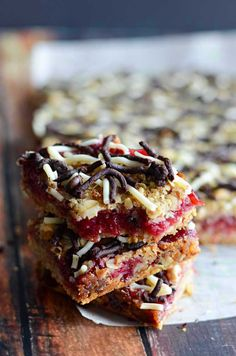 Oatmeal Chocolate Cranberry Bars!  These sweet dessert cookie bars were a hit with my family and friends!  Easy to make, and you can use Thanksgiving's leftover cranberry sauce in them.    hostthetoast.com