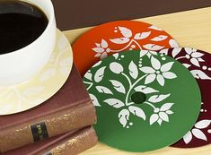 Stenciled CD Coasters -- Recycle those old CDs or DVDs into colorful coasters with Americana Acrylics.