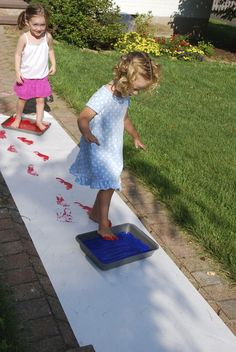 stepping in paint for Pete the Cat I Love My White Shoes Feet Painting Activity
