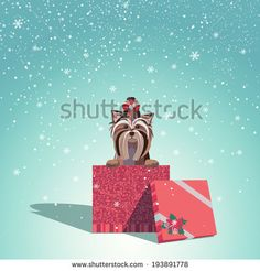 Adorable dog wearing a bow with jingle bells sits in Christmas gift box. Vector EPS 10 illustration.