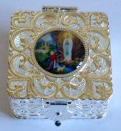 Rosary Boxes in Silver, Pearl and Plastic all depicting the Apparitions in different Shapes and Sizes. Catholic Gifts, Different Shapes, Pearls, Frame, Silver, Boxes, Picture Frame, Crates, Money