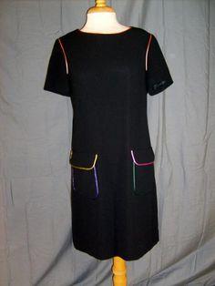 Size 6 Evan Picone Dress Black With Color Trim Knee Length Short Sleeve Career